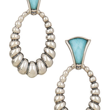 LAGOS Venus Sterling Silver & 14K Gold Fluted Oval & Turquoise Earrings