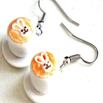Cute Bunny Latte Dangle Earrings