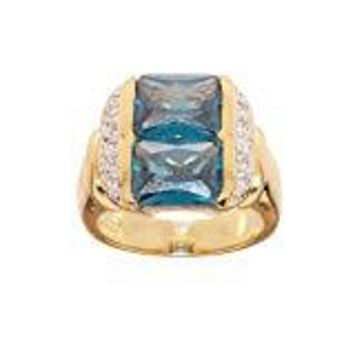 Contemporary Design Genuine Blue Zircon and Cubic Zirconia Two Stone Fashion Cocktail Ring