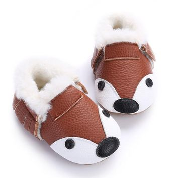 Fur Warm Boots Soft Baby Moccasin Shoes