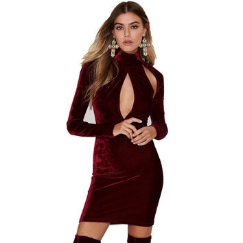 GD207 Womens Vintage Winter Warm Turtleneck Long Sleeve Cut Out Fleece Velvet Bodycon Dress Marsala Red Electric Blue