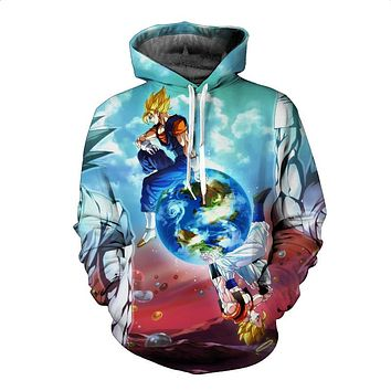 Dragon Ball Z Ultra Instinct Goku Super Saiyan God Blue Rose Hair Vegeta Vigito Print Autumn Winter Coat