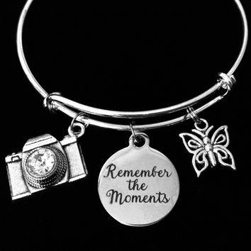 Remember the Moments Camera Butterfly Charm Bracelet Expandable Adjustable Silver Bangle Photographer Gift One Size Fits All