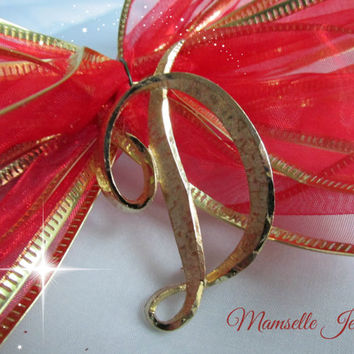 Mamselle Initial Letter D Goldtone Brooch Pin Vintage Jewelry