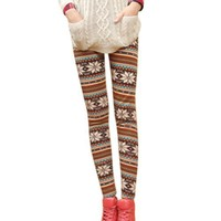 New Womens/girls Nordic Snow Knitted Warm Leggings Tights Pants (A)