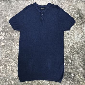 ZARA MAN Navy Blue Knit T-Shirt, Size Large