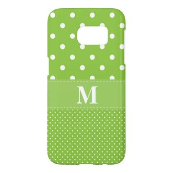 Lime Green Polka Dot Pattern Monogram Samsung Galaxy S7 Case