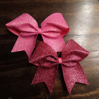 pink glitter cheer bow