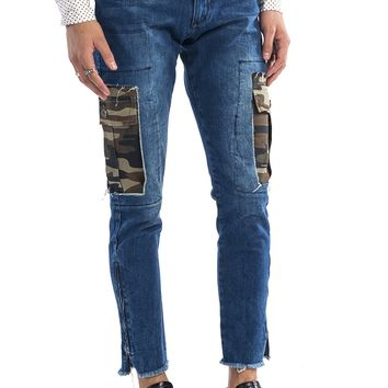 Camo Patched Flap Pocket Slim Fit Jeans - Navy