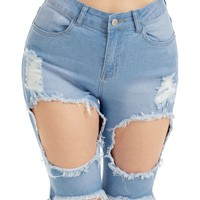 Denim High Waist Ripped Bermuda Shorts
