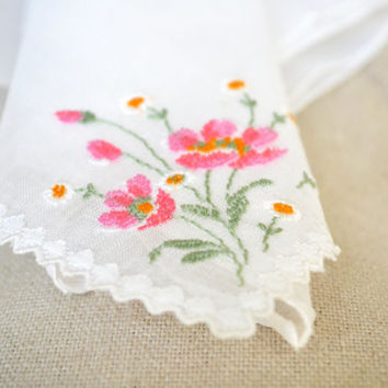 1950s Vintage Handkerchief Embroidered Pink Flowers