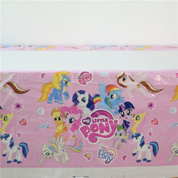 108*180cm my little pony cartoon theme tablecloth kids girls happy birthday party plastic disposable tablecover supplies