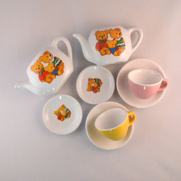 Vintage Ceramic Tea Set For Children - Bear Theme Toy Tea Set, Mismatched Children's Tea Set
