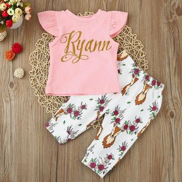 Baby clothing set Newborn Baby Girl Short Sleeve Letter Print Deer Tops+Pants Outfits Clothes Set drop ship