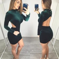 Dark Green Plain Cut Out Backless Mini Dress