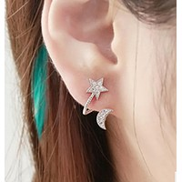 Ear Cuff High Quality Crystal Moon Star Clip Earrings Rhinestone Pentacle Pendant Love Female Pendientes Mujer Earcuff Anel