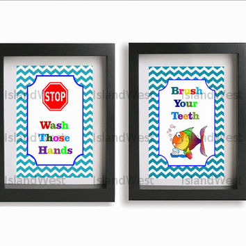 Kids Poster bathroom art wash your hands brush your teeth posters kids typography fun wall art reminders great for birthday gifts set of 2