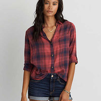 AEO Plaid Boyfriend Shirt , Red