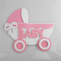Baby Shower Foam Decoration, 7-inch, Stroller, Light Pink