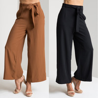 2016 Summer New Women Ladies Vintage High Waist Bow With Belt Wide Leg Palazzo Pants Office Casual Work Elegant Trousers