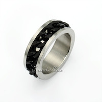 Rock N' Roll Mens Black Curb Cuban Silver Gold Tone Band Ring 316L Stainless Steel Ring