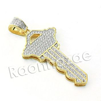 Lab diamond Micro Pave Gold Fortune Key Pendant w/ Miami Cuban Chain B24G