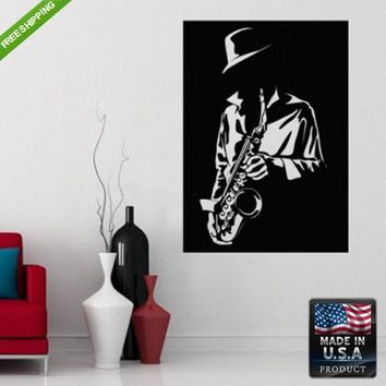 Wall Decal Decal Sticker Sax Saxophone Men with Sax Grunge Flowers Audio  z157