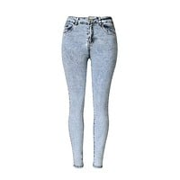 High Waist Acid Washed Jeans