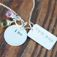 """Personalized, Inspirational, Motivational, Hand Stamped, Sterling Silver Necklace, """"i am STRONG"""""""