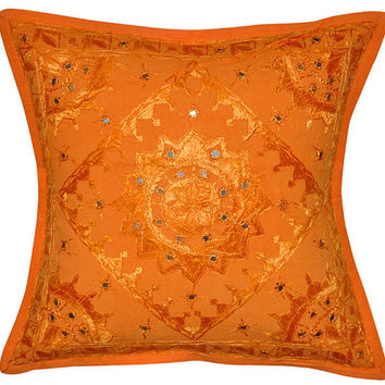 Orange Decorative Mirror Work Pillow for couch, Throw Pillow, Accent PIllow, Ethnic Indian Floor Pillow, Toss Pillow, Couch Sofa Pillow