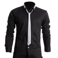 FLATSEVEN Mens Slim Fit Dress Shirts with Tie