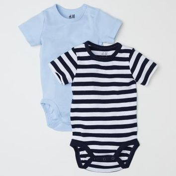2-pack Short-sleeved Bodysuits - Light blue/Striped - | H&M US