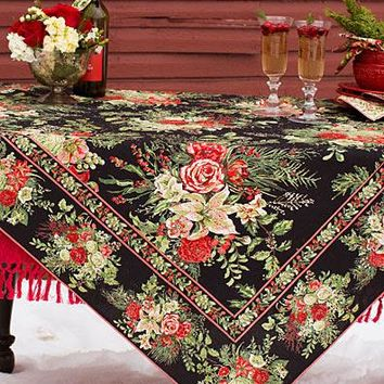 "New April Cornell Tablecloth 60"" x 120"" Black Victorian Roses Evergreen Merry"