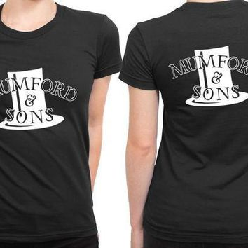 ESBH9S Mumford And Sons Hat Fan Art Black And White 2 Sided Womens T Shirt