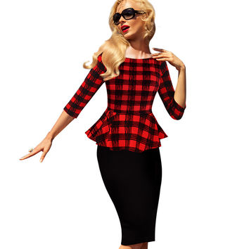 Vfemage Womens Peplum Elegant Vintage Tartan Plaid Patchwork Contrast Tunic Wear to Work Office Party Sheath Casual Dress 2000