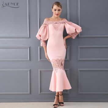 Adyce Celebrity Party Dress Women Vestidos Verano New Summer Sexy Flare Sleeve Lace Hollow Out Clubwears Off-Shoulder Dress