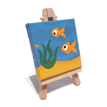 Fish Mini Painting - acrylic underwater scene on miniature canvas with easel