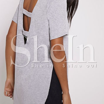 Grey Short Sleeve Cut Out High Low T-Shirt