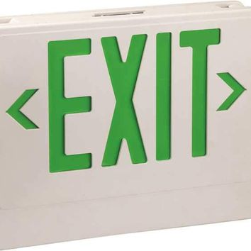 Monument Emergency Exit Led Combo With Green Letters, 2 Led Lamp Heads, Ul Listed, Suitable For Damp Locations
