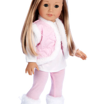 Snowflake - Clothes for 18 inch Doll - 4 Piece Outfit - Leggings, Long Sleeve Tunic, Vest and Boots