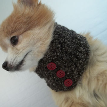 Dog scarf hand crocheted black cowl neck warmer for a small Chihuahua or cat