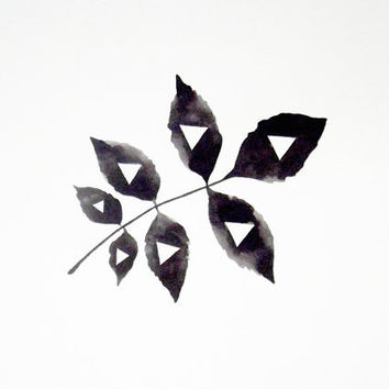 Geometric Leaf - Original Watercolor