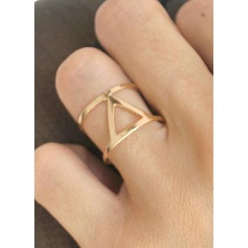 Gold Cutout Triangle Ring