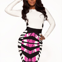 Clothing : Bandage Dresses : 'Jess' White & Pink Tiger Longsleeve Bandage Dress