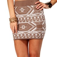 TaupeIvory Tribal Bodycon Skirt