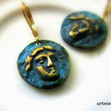 Coin necklace pendant Blue Verdigris Antique Coin Ancient Gold filled Archaic Patina Face Necklace Gold Blue Pendant - Alexander the great