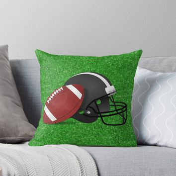 'Football Helmet with Football ' Throw Pillow by Gravityx9