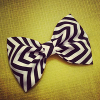 Chevron black and white fabric hair bows zigzag preppy retro pinup rockabilly