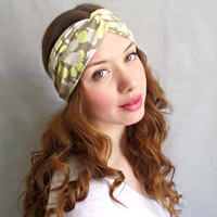 Turban Headband , Jersey Headband, Yellow Print,Bohemian Hair Accessories