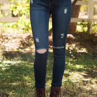 Rise Up Distressed Skinny Jeans